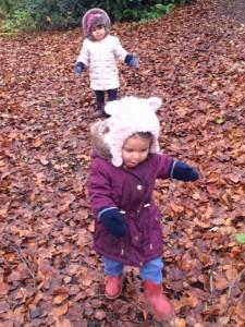 Twin girls in autumn